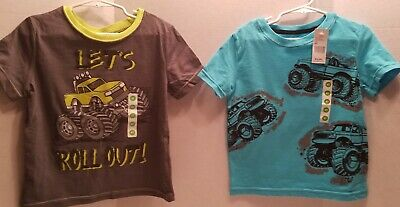 2 Peanut & Ollie Toddler Boys Blue & Green Monster Truck Size 4T New w/ Tags