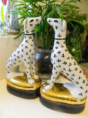 Fabulous Wong Lee  Porcelain Pair Dogs - Very Rare Hand Crafted 22cm