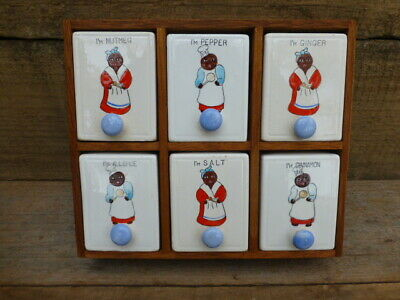 Vintage  Black  Mammy  And  Pappy  Cooks  Spice  Set / Rack