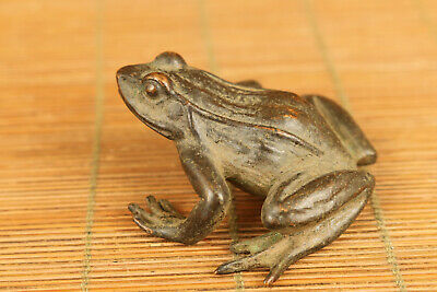 chinese old bronze hand carved frog statue collectable fortune tea pet gift