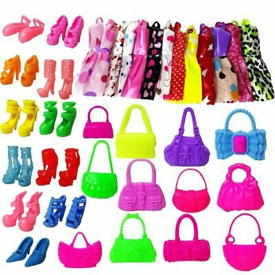 30 Pcs Dolls Set Pieces Barbie Doll Dresses Shoes & handbag Hangers Clothes Set