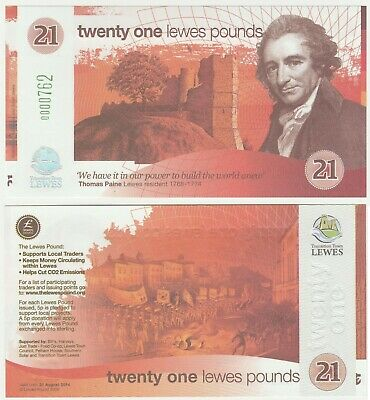 United Kingdom - Lewes £21 21 Pound 2009 UNC Local Currency Banknote 1st Series