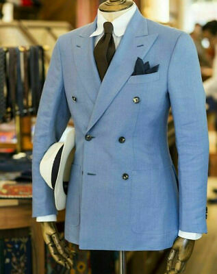 Mens Double Breasted Suits Groom Formal Classic Vintage Denim Blue Tailored Fit
