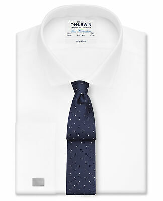 T.M.Lewin Non-Iron White Twill Double Cuff Fitted Shirt