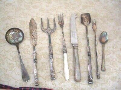 Vintage Mixed Cutlery Knives Forks & Spoons ~Silver Plate Job Lot of 8