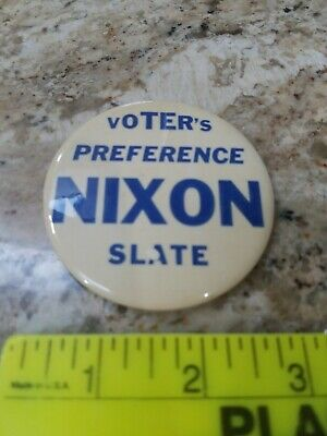"3"" RICHARD NIXON ""Voter's Preference Nixon Slate"" BUTTON PIN -- SCARCE 1972?"