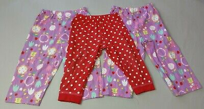 George Baby GIRLS PYJAMA BOTTOMS 3 Pack Age 12-18 Months Years Red Purple