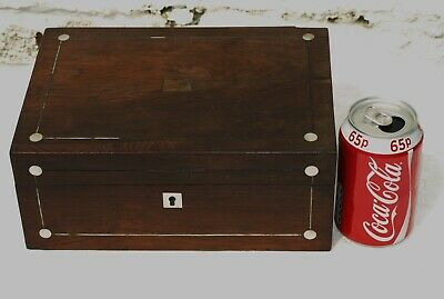 Victorian Wooden Rosewood Veneered Jewellery Box With Mop For Restoration
