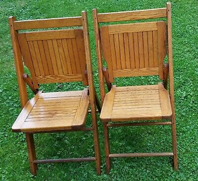 Pair of Antique Paris Manufacturing  Co. Folding Wooden Chairs