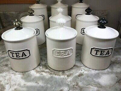 THL Canister Coffee, Tea Or Sugar Choose White, Black Or Bronze New.