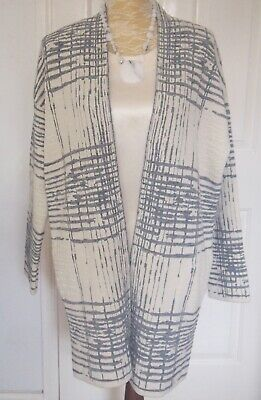 Marks & Spencer Per Una Grey Ivory Check Textured Edge to Edge Cardigan Coat 12