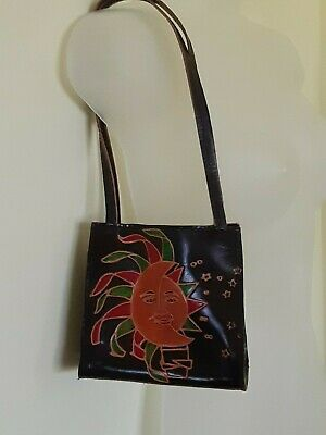 Made in India Brown Orange Sun & Moon & Stars Tooled Leather SM SZ Shoulder Bag