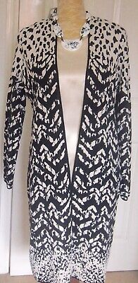 Marks & Spencer Black and White Animal Print Edge to Edge Cardigan Coat 12