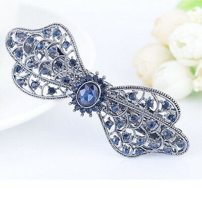 Women Crystal Flowers Hairpin Rhinestone Butterfly Hair Clip Bow Barrette Knot