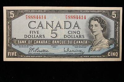 1954 Canada. ($5) Five Dollars. Banknote. Series P/S. Beattie-Rasminsky