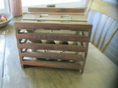 BEST ANTIQUE SMALL  MAINE SLATTED WOOD EGG CRATE CHICK-A-DEE FARMS primitive