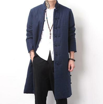 Mens Winter Retro Warm Chinese Cotton-padded Long CoatsTang Suit Parka Outwear