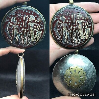 wonderful rare old Medieval agate stone intaglio carved brass pendant