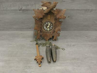 Black Forest Miniature Cuckoo Clock Bird and Leaf Design for Parts or Repair