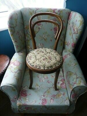 Such a sweet Apprentice piece chair /dolls chair , ballon back tapestry seat