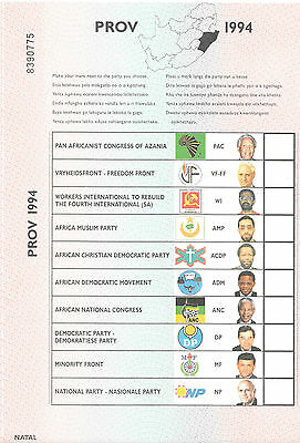 SOUTH AFRICA 1994 BALLOT PAPER NATAL 1st DEMOCRATIC ELECTION