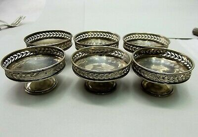 Antique Sterling Silver Individual Nut Candy Dish Cup Set 6 Lot Pierced Watson