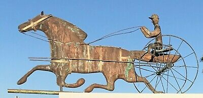 Circa late 19th/early 20th Century Copper Horse and Sulky Weathervane Antique