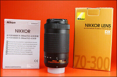 Nikon AF-P Nikkor 70-300mm f4.5-6.3 G ED DX Lens + Both Caps, & Box
