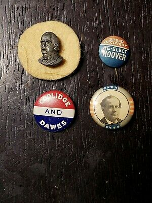 Lot of Four Early Presidential Political Campaign Buttons