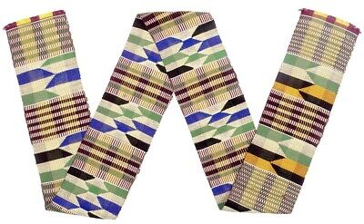 African Ashanti Kente cloth scarf stole fabric handwoven Ghana authentic Art
