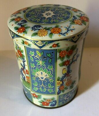 Vintage Blue Lotus Tin Daher Metal Container Flower Birds Made in England Floral