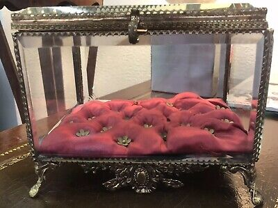 Large Antique French Beveled Glass Ormolu Casket Beautiful