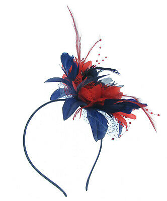 Navy blue and Red  Lace feather Fascinator on a band for Ascot , Races, Weddings