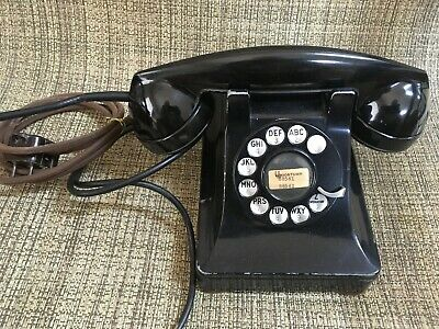 Western Electric Antique Metal 302 Desk Telephone with Dial
