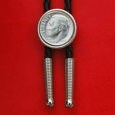 """US 1946 ~ 1964 Roosevelt Dime 90% Silver Coin 36"""" Leatherette Cord Bolo Tie NEW"""