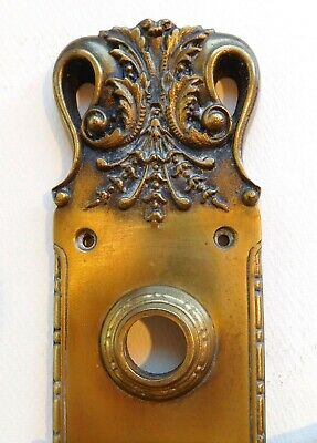 "Antique Russell Erwin cast bronze brass ""Mayflower"" back plate ornate victorian"