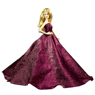 Peregrine Handmade Pink Feather Print Silk Prom Dresses for 11.5 inches Doll