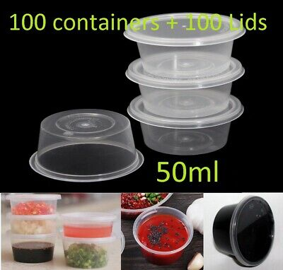 100 set 50ml Plastic Dipping Sauce Disposable Container Cups Lids Takeaway NEW