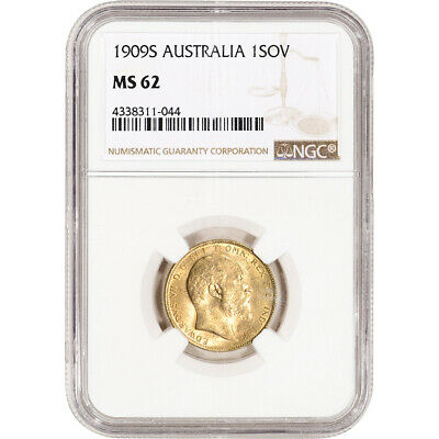 1909 S Australia Gold Sovereign - NGC MS62