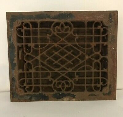 Vintage Antique Cast Iron Floor Grille Heat Grate Register w/ Louvers 12 X 10