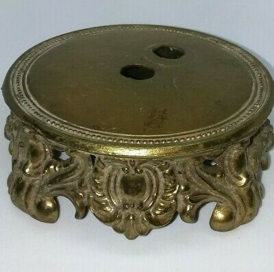 Vintage Antique Brass Finish Cast Metal Footed Table Lamp Base Part