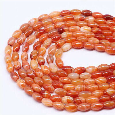 8x12mm Natural Red Striped Agate Loose Beads Making Jewelry 15 inches Handmade