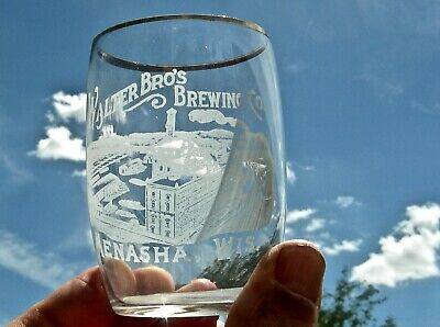 "1900 Menasha Wisconsin Wi Rare ""Walter Bros. Brewing Co"" Brewery Pict Beer Glass"