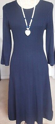 Elegant Per Una Ribbed Fitted Knit Dress dark navy size 12