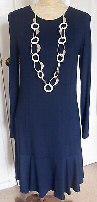 Elegant Marks & Spencer Best of British Fluted Hem Fine Jersey Dress Navy 12 NWT