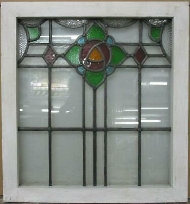 "MIDSIZE OLD ENGLISH LEADED STAINED GLASS WINDOW Mackintosh Rose 22"" x 23.75"""