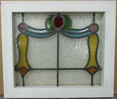 "OLD ENGLISH LEADED STAINED GLASS WINDOW Colorful Swag Design 15.75"" x 13.75"""