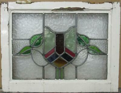 "OLD ENGLISH LEADED STAINED GLASS WINDOW Stunning Shield & Leaves 21.75"" x 16.75"""