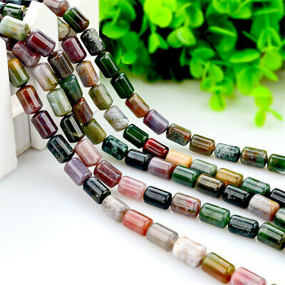 1pcs 8x12mm India Agate Bucket Loose Bead Round Opaque Strand Stone Accessories