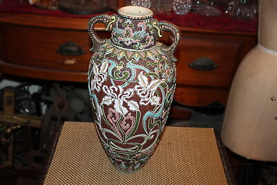 Antique Japanese Chinese Moriage Pottery Vase Colorful Designs